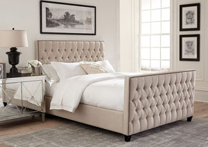 Beige Twin Upholstered Bed