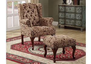 Tan & Cherry Button Tufted Wing Chair w/ Ottoman