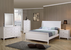 Selena White Twin Bed w/Dresser, Mirror, Chest & Nightstand