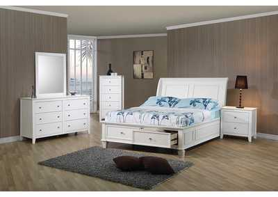 Selena White Full Storage Bed