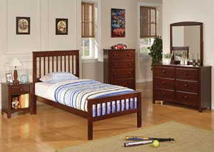 Parker Cappuccino Twin Bed w/Dresser, Mirror & Chest