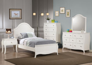 Dominique White Twin Bed Bed w/Dresser, Mirror & Chest