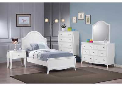 Dominique White Twin Bed