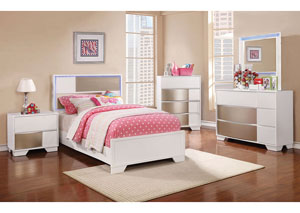 Blanco/Sterling Full Panel Bed w/Dresser, Mirror & Drawer Chest