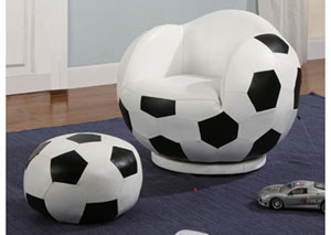 White Small Kids Soccerball Chair & Ottoman