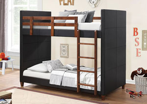 Black Twin Upholstered Bunk Bed