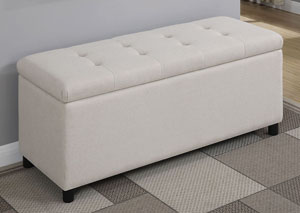 White Upholstered Storage Bench