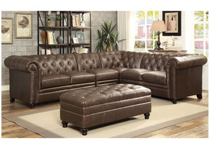 Dark Brown Extended Sectional (Ottoman Sold Separately)