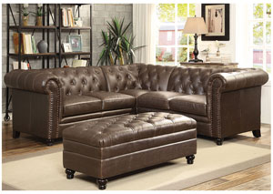 Dark Brown Sectional (Ottoman Sold Separately)