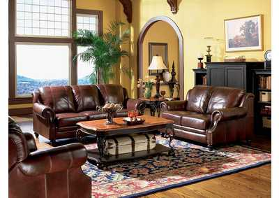 Princeton Dark Brown Tri-Tone Leather Sofa,Coaster Furniture
