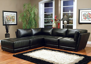 Kayson Black Modular Sectional (Bonded Leather)