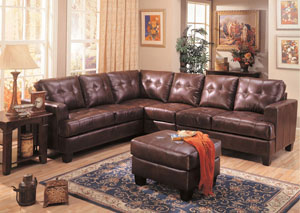 Samuel Dark Brown Bonded Leather Extended Sectional