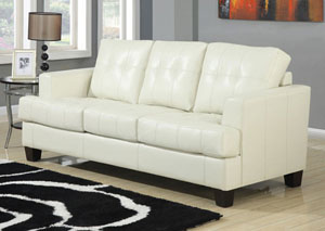 Samuel Cream Bonded Leather Sleeper Sofa,Coaster Furniture