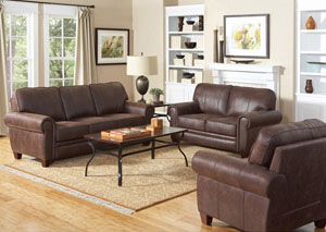 Bentley Brown Sofa & Love Seat