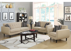 Beige Sofa and Loveseat