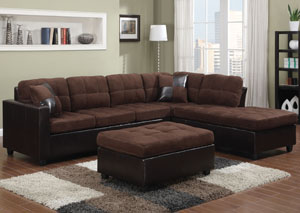 Mallory Chocolate Sectional & Ottoman