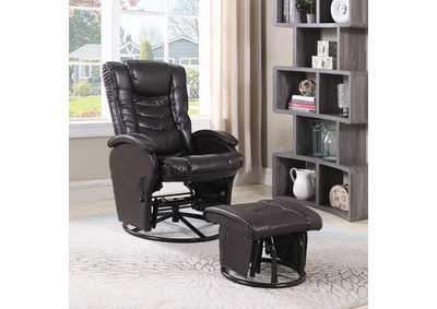 Brown Deluxe Glider w/ Ottoman,Coaster Furniture