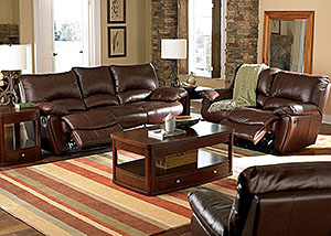 Clifford Dark Brown Motion Sofa & Love Seat