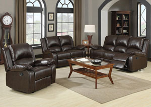 Boston Brown Motion Sofa & Love Seat w/ Console