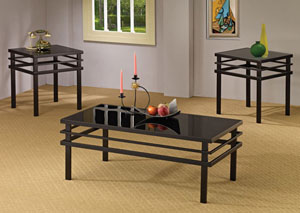 Modern Metal 3pc Occasional Table Set