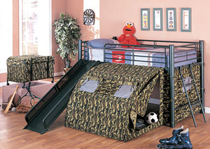 Twin Bunkbed w/Slide & Tent