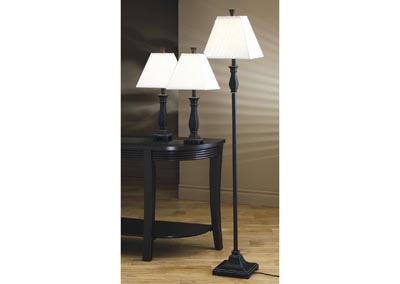 Black 3 Piece Floor and Table Lamp Set