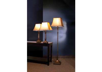 Brown 3 Piece Floor and Table Lamp Set