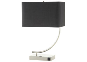Satin Nickel/Black Table Lamp (Set of 2)