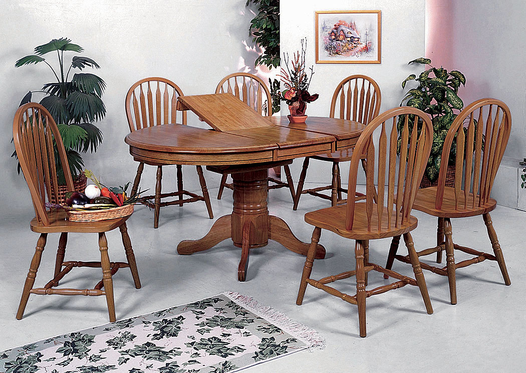 Ware-House Furniture Farmhouse Oval Dining Table Side Chairs
