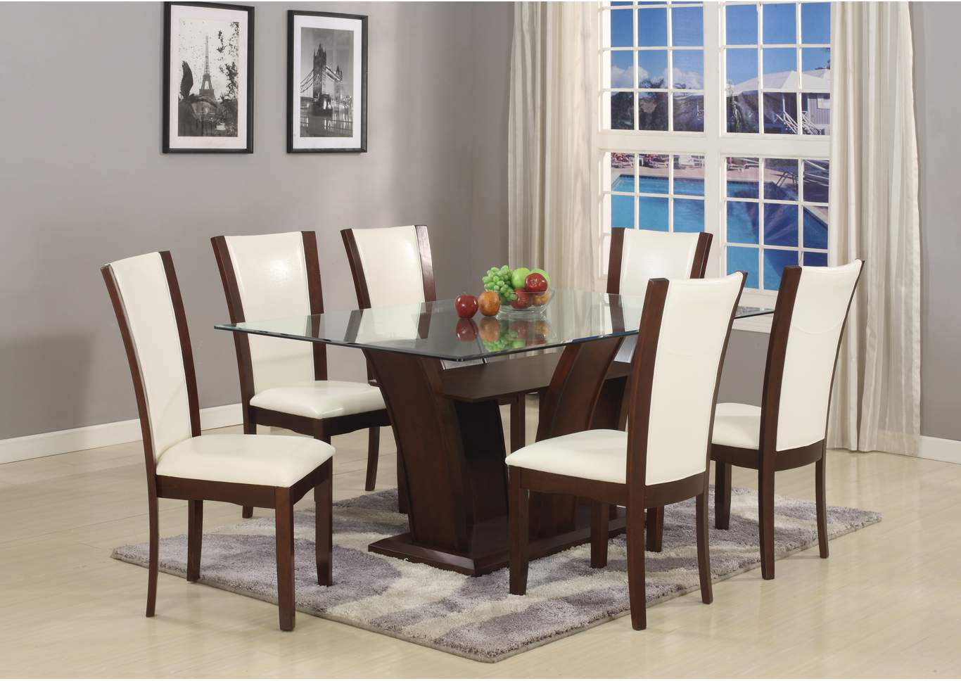 Camelia White Glass Rectangular Dining Room Table w/6 Camelia Side Chairs,Crown Mark