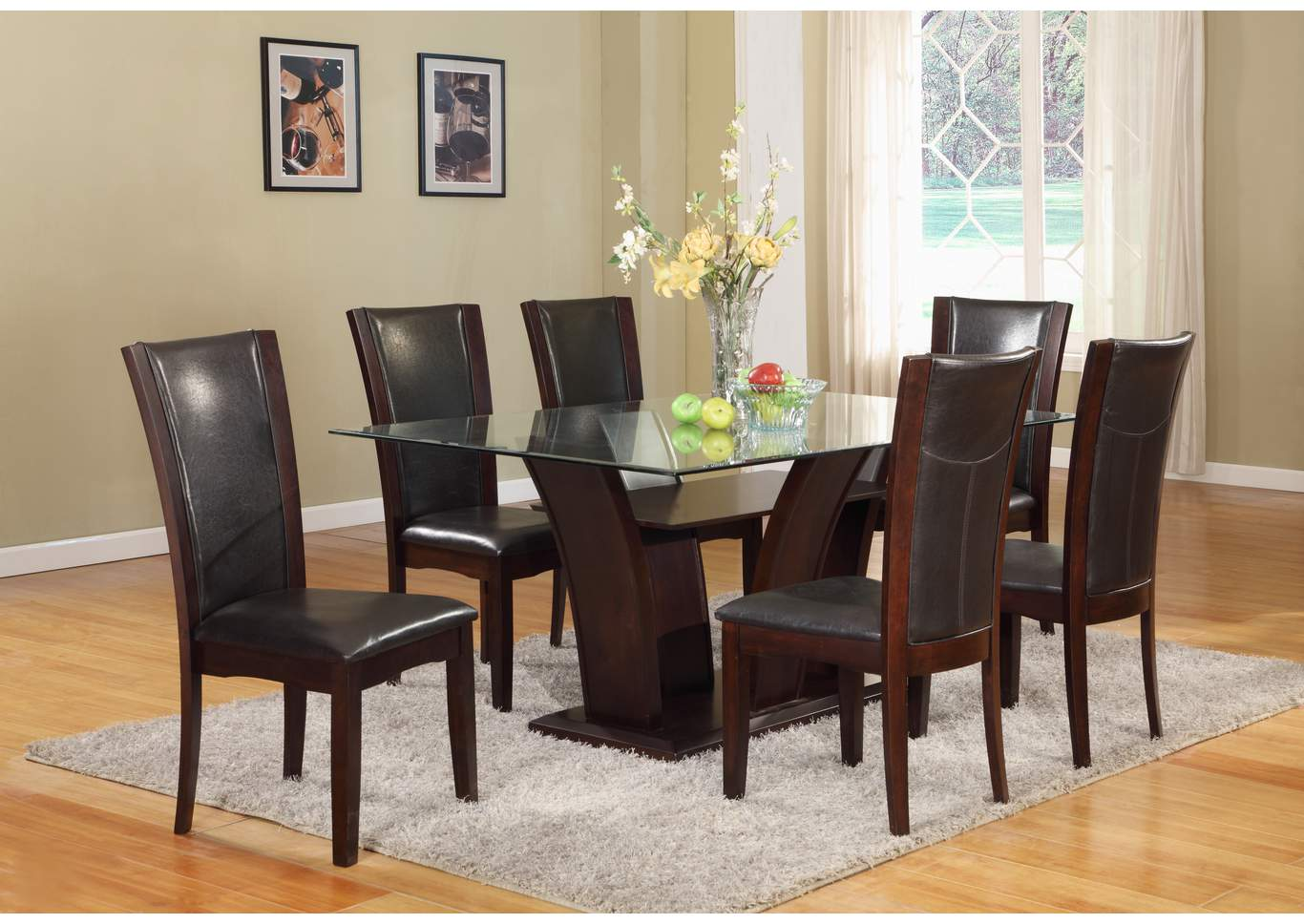 affordable furniture houston camelia espresso glass rectangular dining room table w 6 camelia. Black Bedroom Furniture Sets. Home Design Ideas
