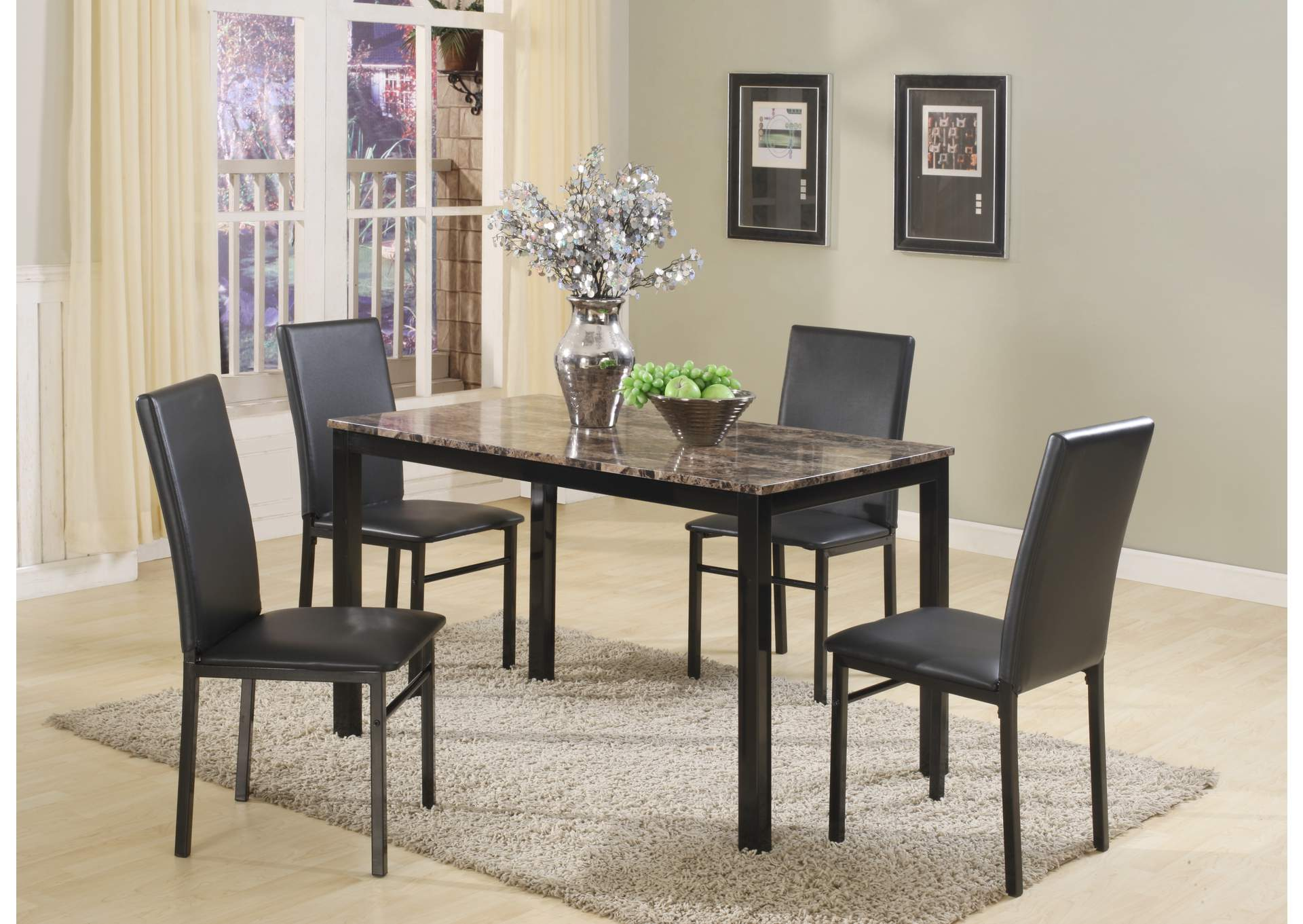 Aiden Rectangular Dining Room Table w/4 Side Chairs,Crown Mark