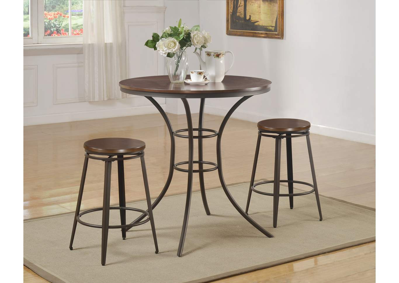 Kylie Counter Height Dining Room Table w/2 Swivel Stools,Crown Mark