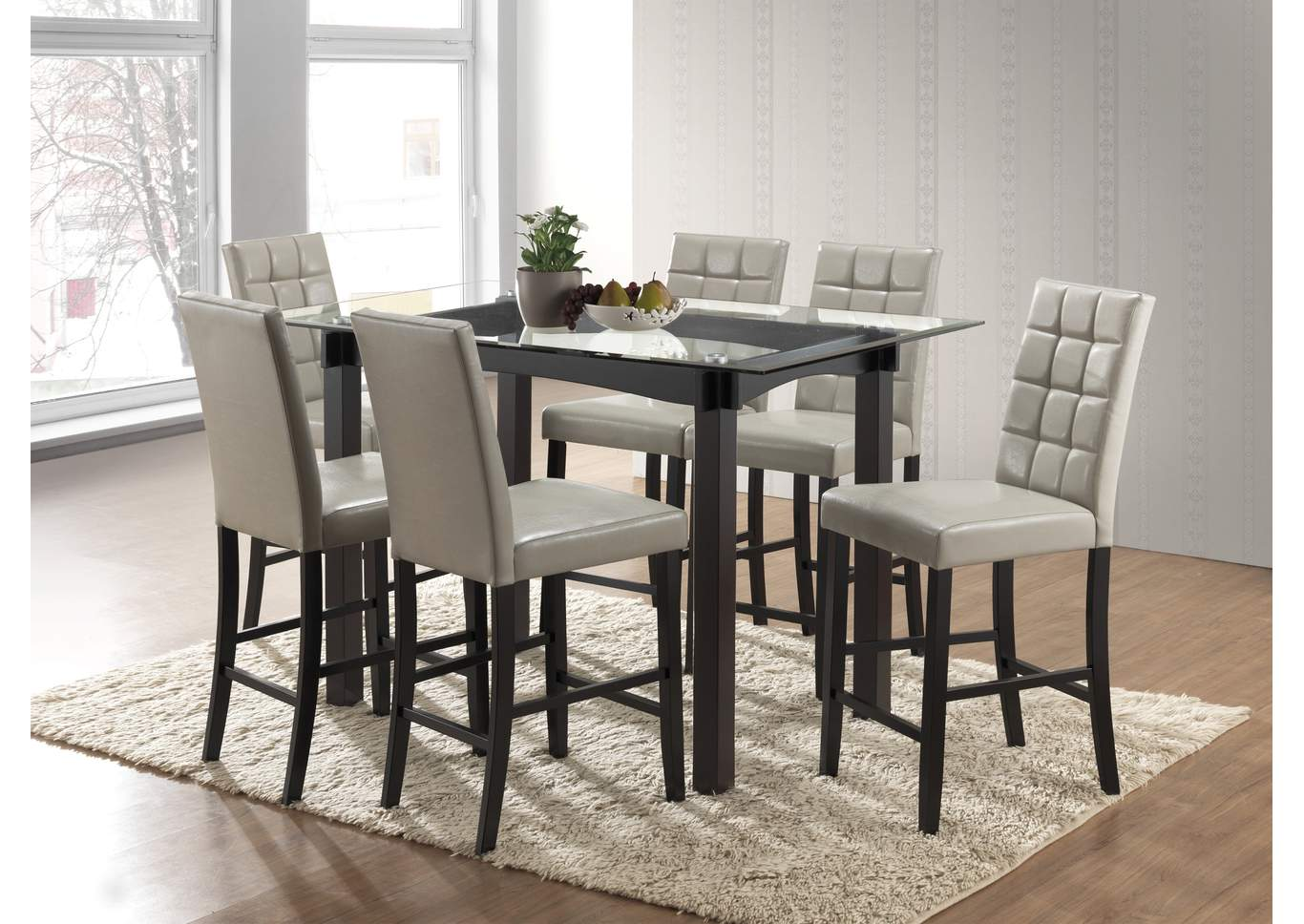 Zora Glass Top Counter Height Dining Table W/6 Counter Height Chairs,Crown  Mark