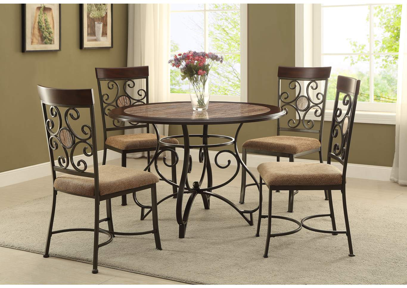 Ivan smith sarah round dining table w metal pedestal base for Front room sets