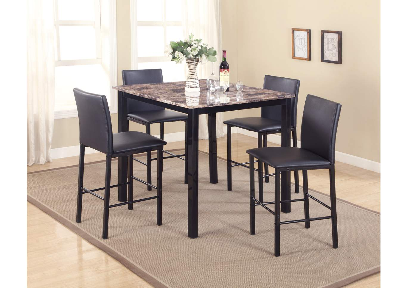 quality furniture wa aiden counter height dining room table w 4 counter height chairs. Black Bedroom Furniture Sets. Home Design Ideas
