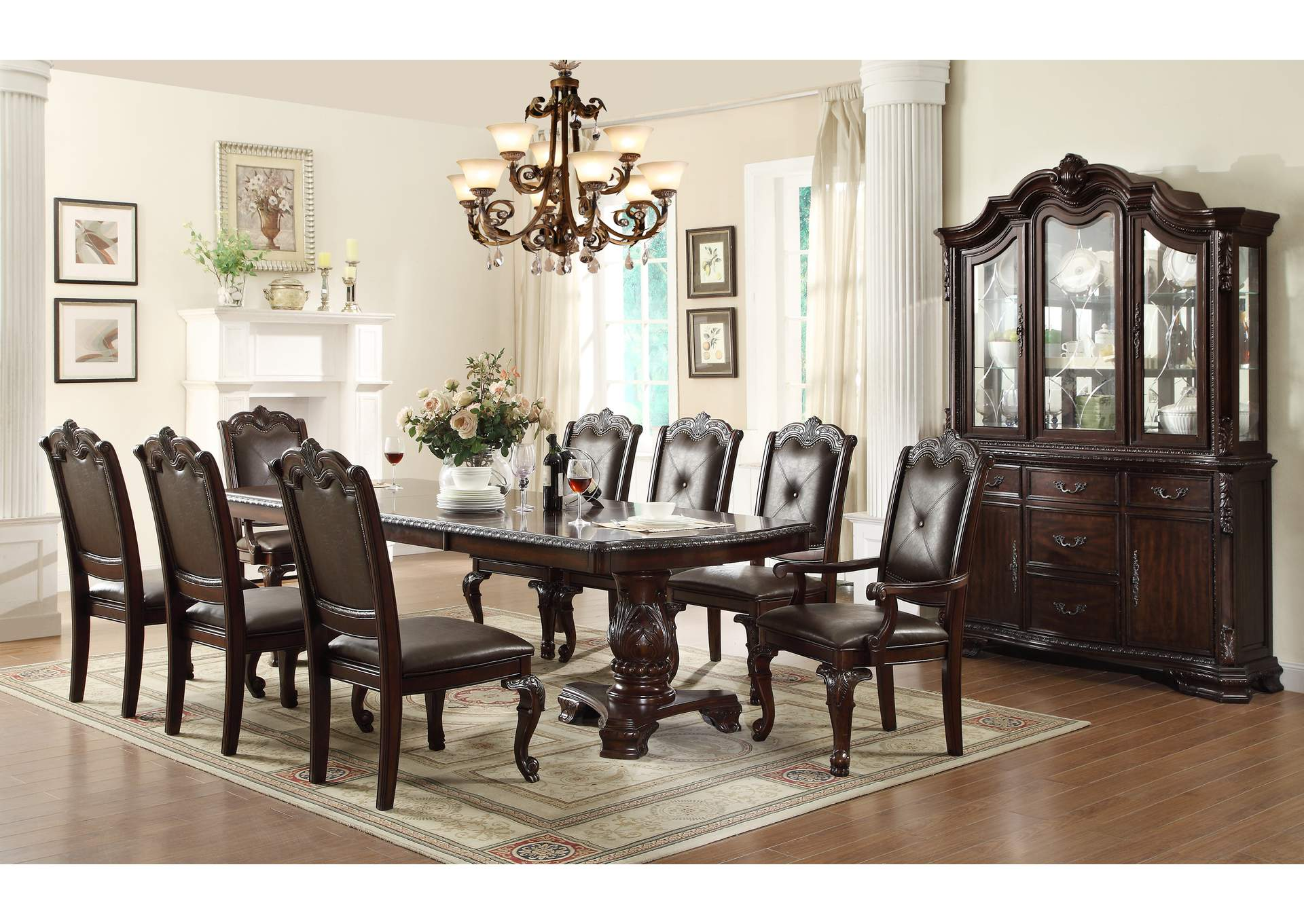 kiera rectangular dining room table w6 side chairs and 2 armed chairscrown
