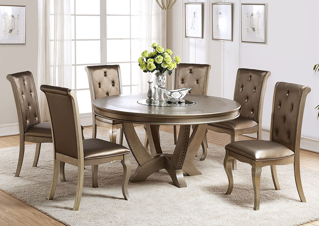 Dining Room Mina Champagne Round Table W Lazy Susan
