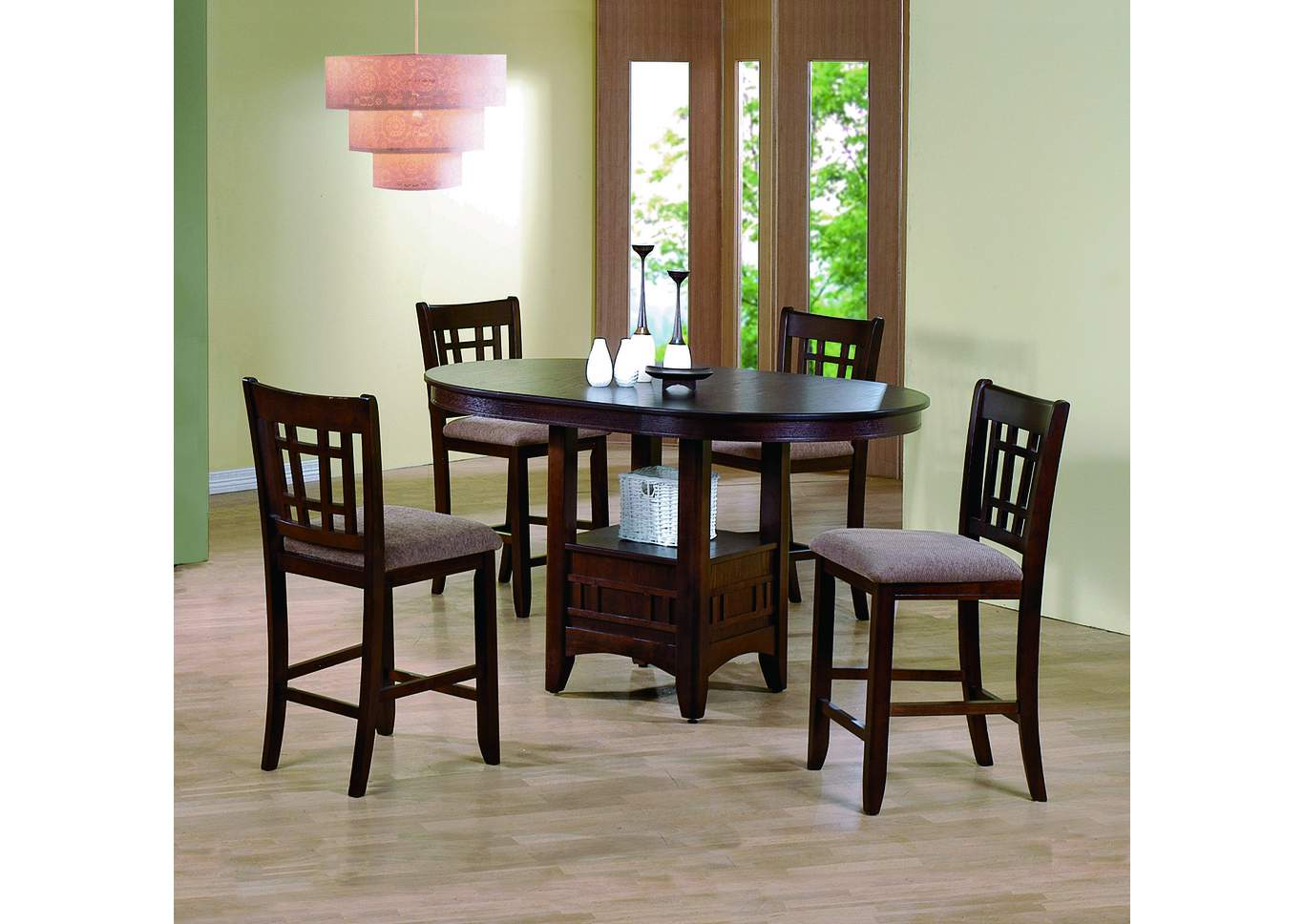 Empire Counter Height Dining Table W 4 Side ChairsCrown Mark