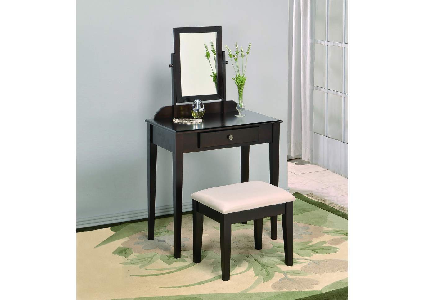 Iris Espresso Vanity Table & Stool,Crown Mark