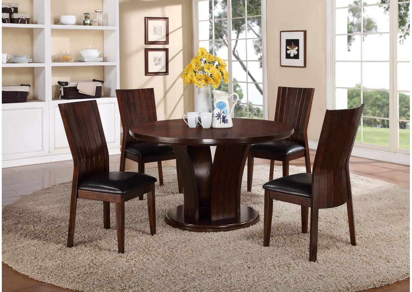 Compass furniture daria 54 espresso round dining room for Espresso dining table