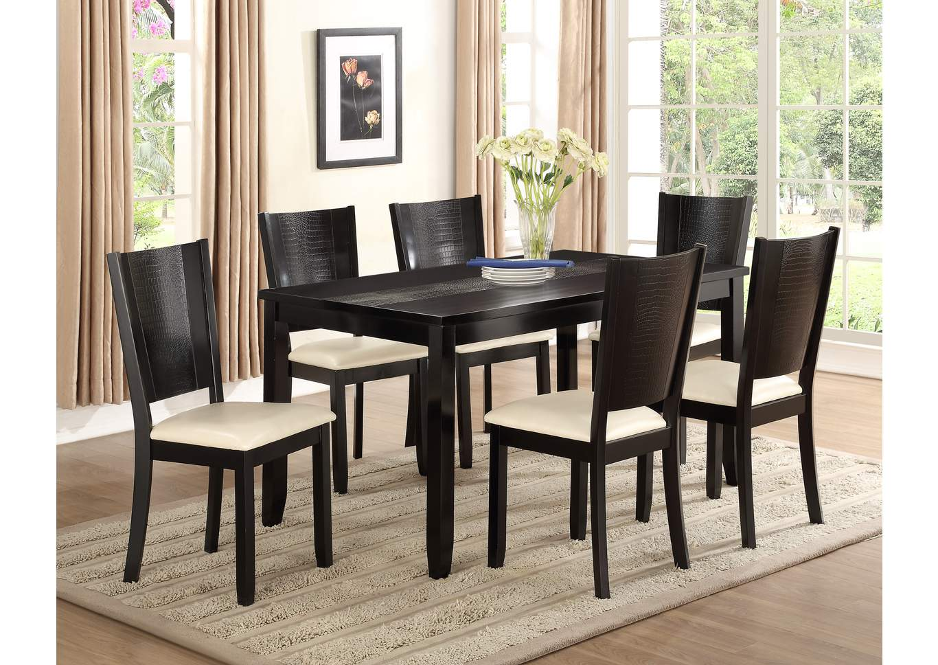 Hanson Dining Table w/ 6 Side Chairs,Crown Mark