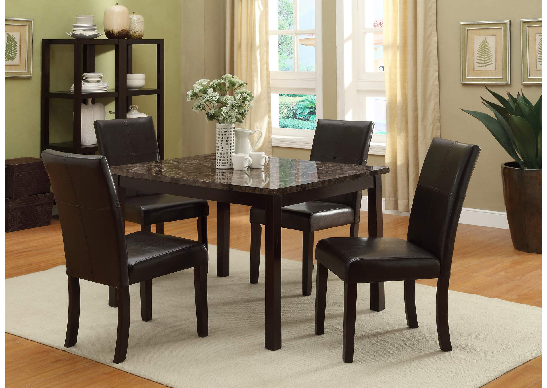 Pompeii Dining Table W 4 Side Chairs