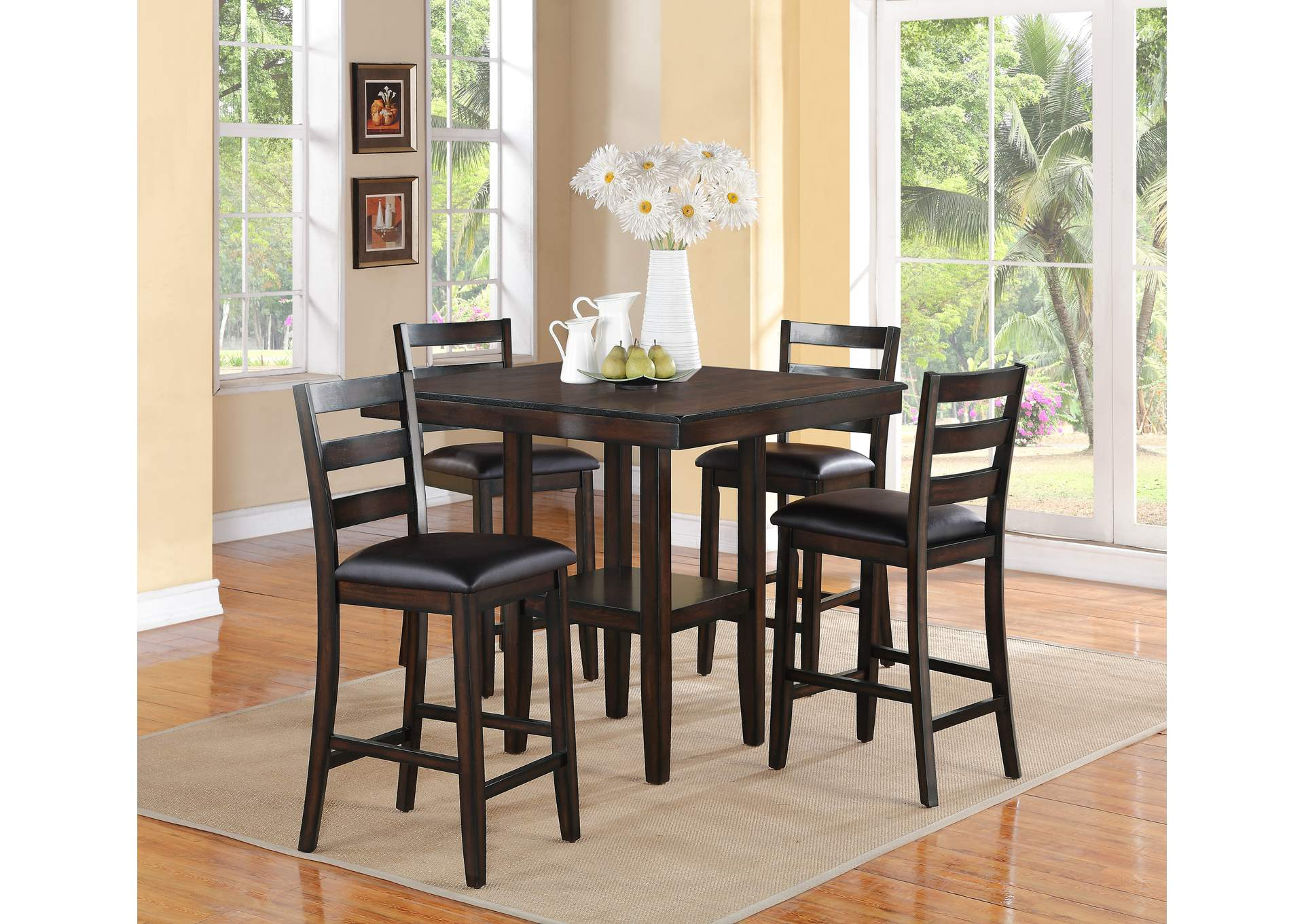 Quality Furniture WA Tahoe Counter Height Table Set W 4 Side Chairs