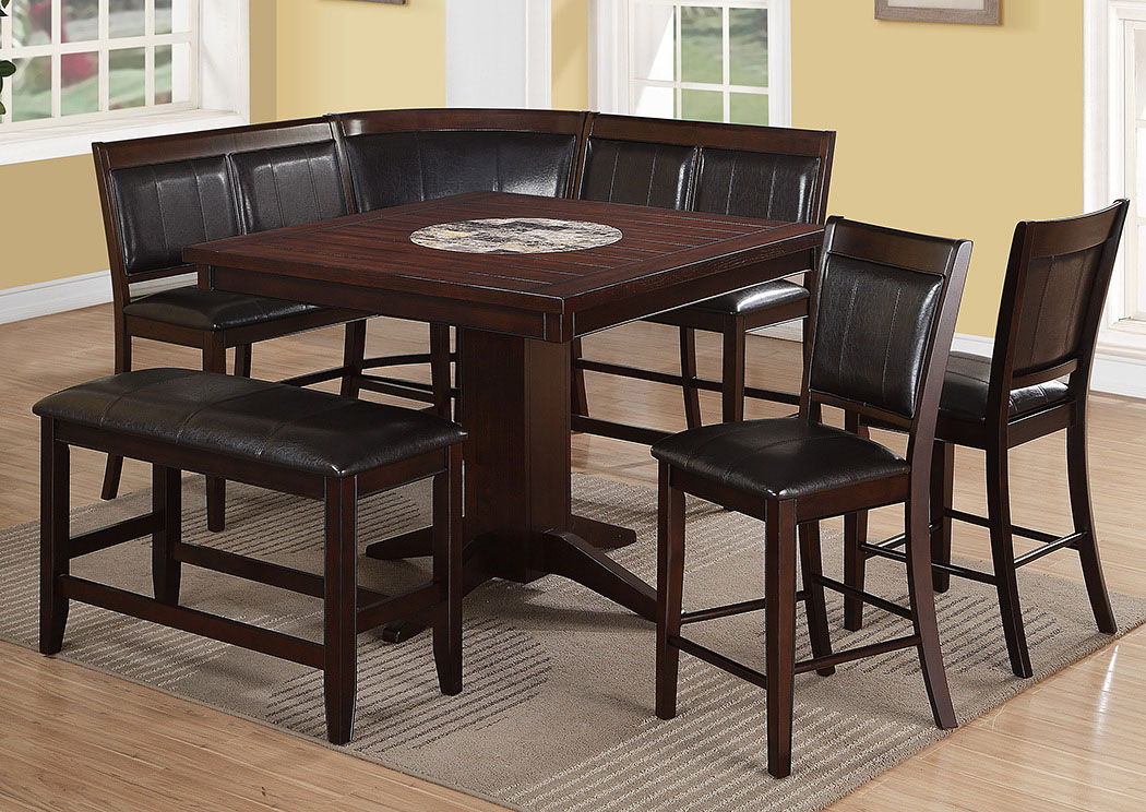 Compass furniture harrison counter height dining room table w 2 counter height chairs high back Counter height bench