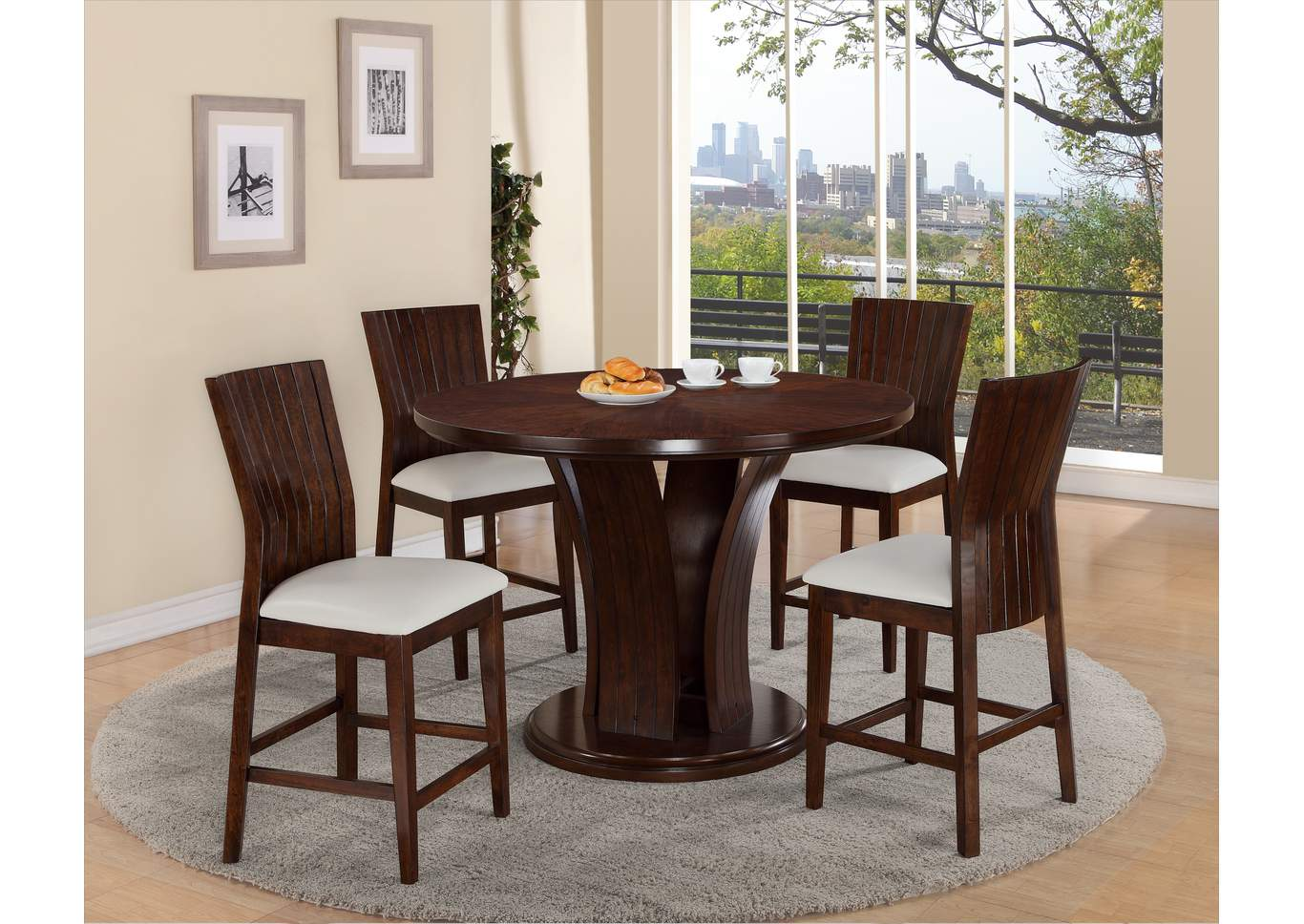 Daria White Counter Height Round Dining Room Table w/4 Counter Height Chairs,Crown Mark