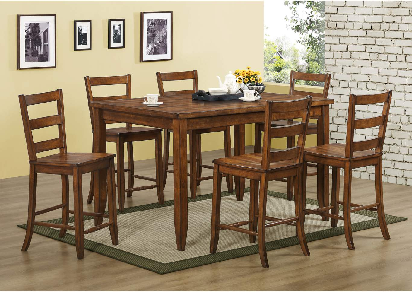 starfire counter height round dining room table w 4 counter height