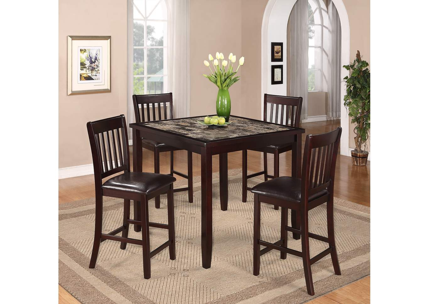 Cascade Counter Height Dining Room Table w/4 Counter Height Chairs,Crown Mark