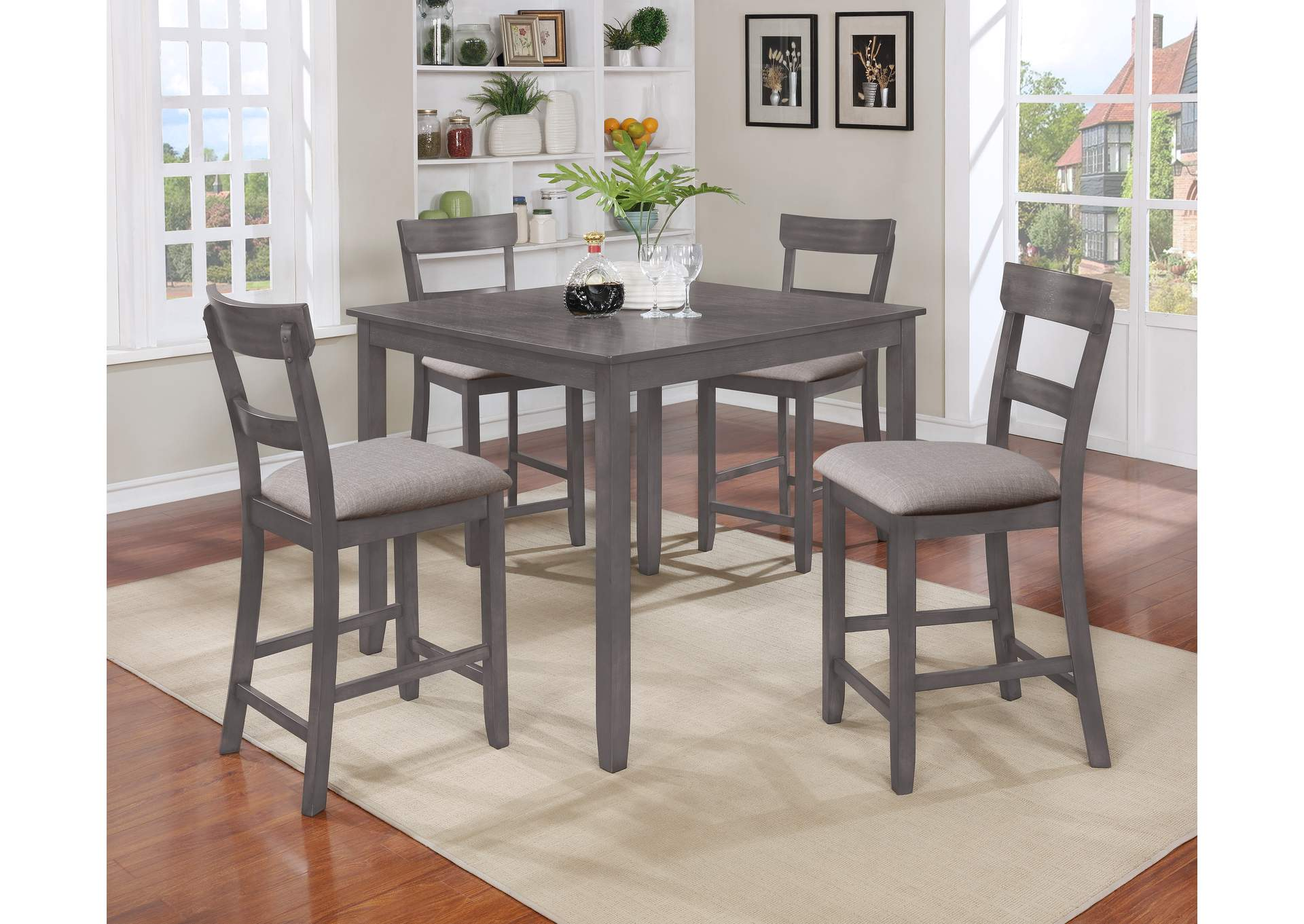 All Brands Furniture   Edison, Greenbrook, North Brunswick, Perth Amboy,  Linden NJ Henderson Grey 5Pk Counter Height Dinette