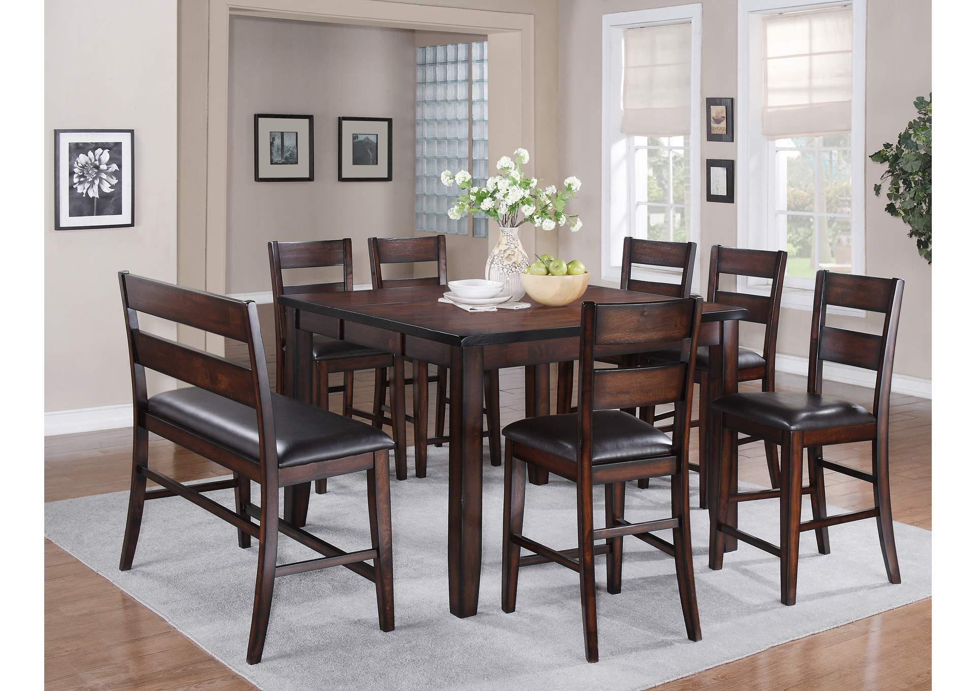 Maldives Counter Height Table w/ 4 Counter Height Chairs and Hi Back Bench,Crown Mark